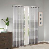 Home Essence Jacey Woven Faux Linen Striped Window Sheer