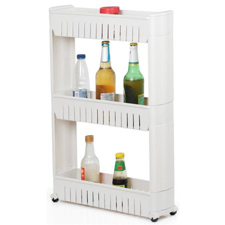 3 Tiers Slim Narrow Laundry Storage Cart Slide Out Storage Kitchen Trolley Spice Rack with Rolling Castors