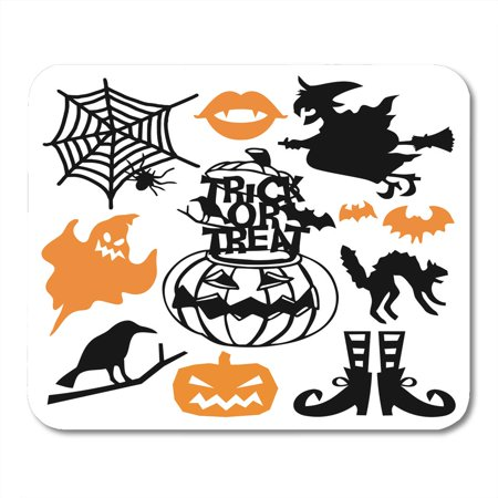 KDAGR Bewitching Spooky Halloween Cut Silhouette This Includes Ghost Witch on Broomstick Pumpkin and More Mousepad Mouse Pad Mouse Mat 9x10 inch](Witch Silhouette Halloween)