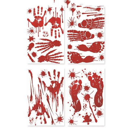 (40Pcs) Footprints Stickers Floor Clings,Handprints Window Wall Clings Decals, Party Decorations Supplies (4 Sheets) - Floor Clings