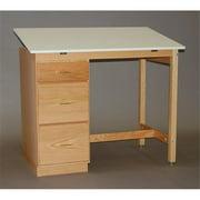 SMI F2846-37PDA Natural Oak Finish Pedestal Desk, 28 X 46 in.