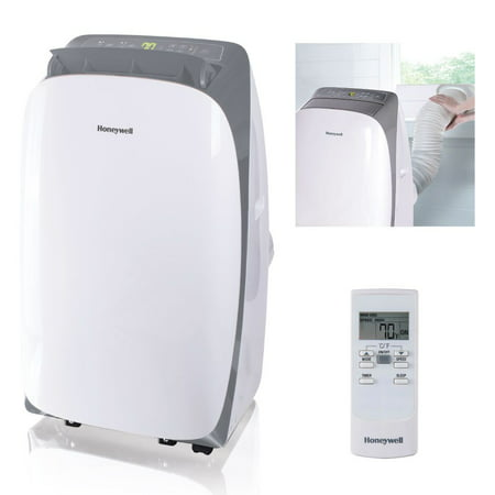Honeywell HL12CESWG 12,000 BTU 115V Portable Air Conditioner for Rooms Up To 550 Sq. Ft. with Dehumidifier & Fan, White/Gray