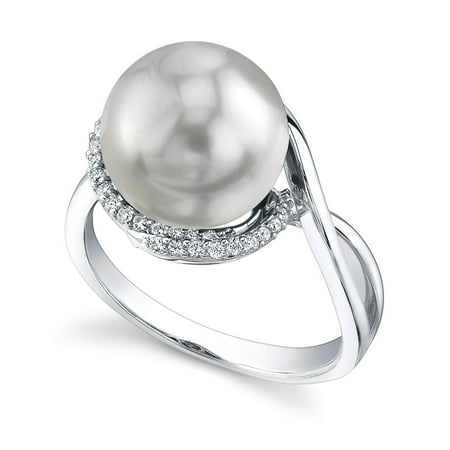 10 Mm Pearl Ring - 10mm White South Sea Cultured Pearl & Diamond Summer Ring in 14K Gold