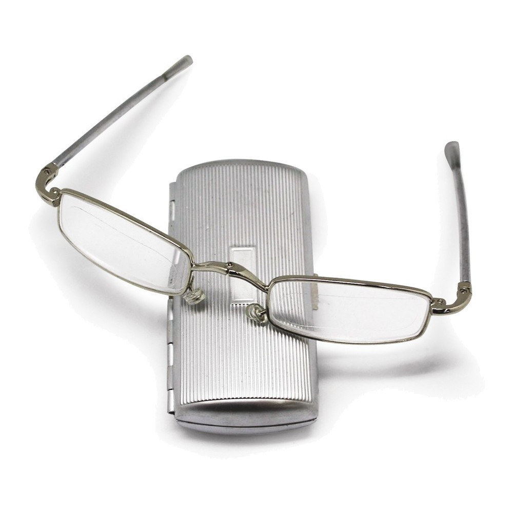 Silver-tone 1.50 Magnification Folding Glasses in Metal Case