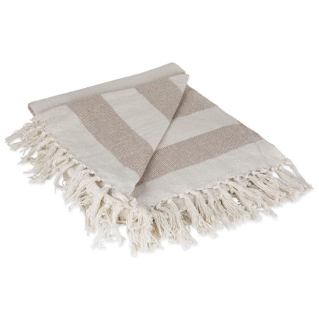 - DII Rustic Farmhouse Cotton Cabana Striped Blanket Throw with Fringe For Chair, Couch, Picnic, Camping, Beach, & Everyday Use, 50 x 60