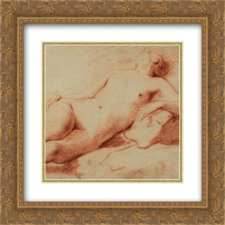 Johann Anton De Peters 2X Matted 20X20 Gold Ornate Framed Art Print Liegender Weiblicher Akt