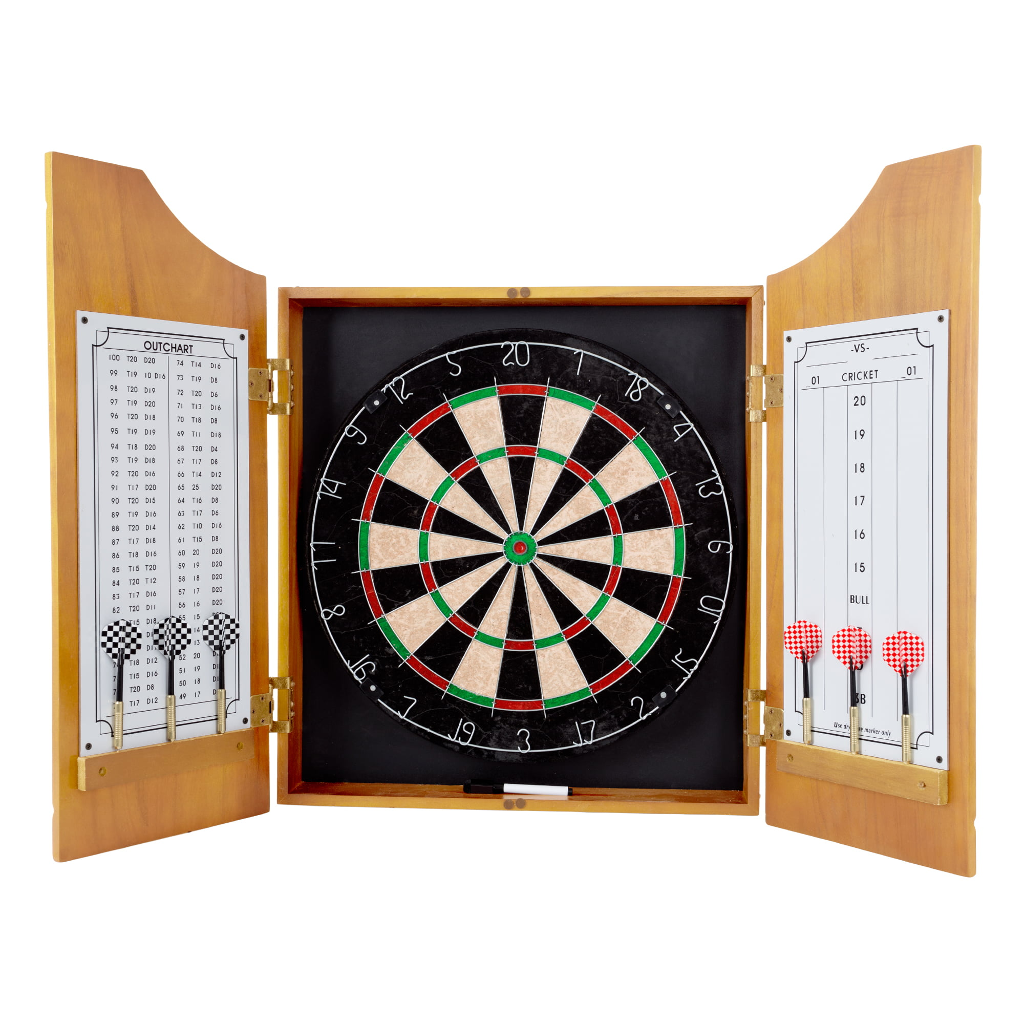 Trademark Games Professional Style Solid Wood Dart Cabinet Set with