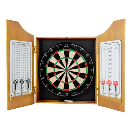 Trademark Games Professional Style Solid Wood Dart Cabinet Set with Board and Darts (American Style Dartboard)