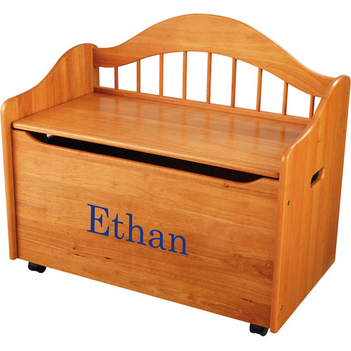 KidKraft - Personalized Limited Edition Honey Toy Box, Blue Library Font Boy's Name
