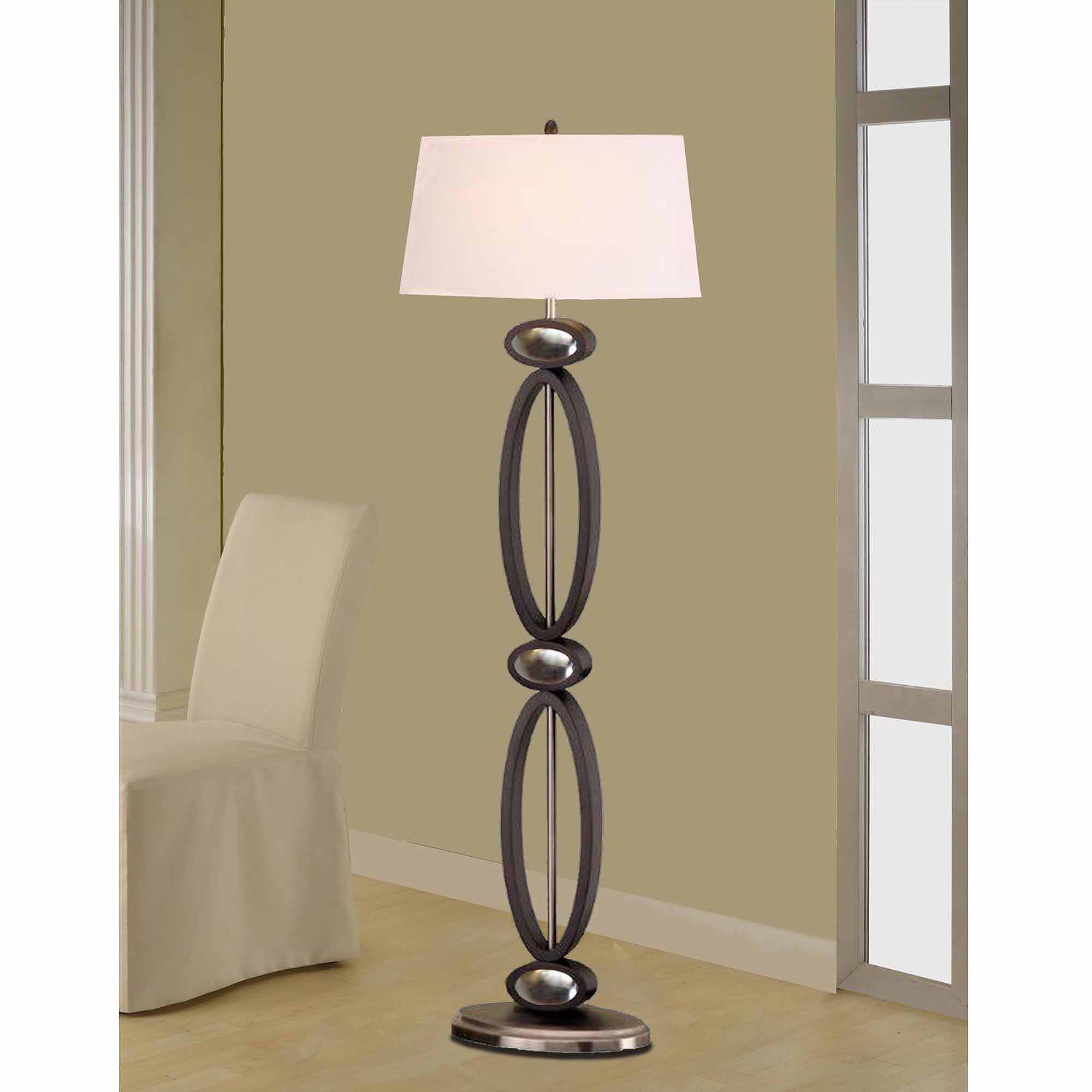 "Artiva USA 61"" Infinity Dark Walnut Wood/Brushed Steel Floor Lamp"