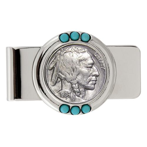 American Coin Treasures Buffalo Nickel Turquoise Money Clip
