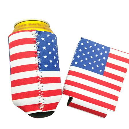 Funny Can Cooler Holder Beer Beverage Drink Bottle Sleeve Cover Party Favors Pattern Flag (Beer Covers)