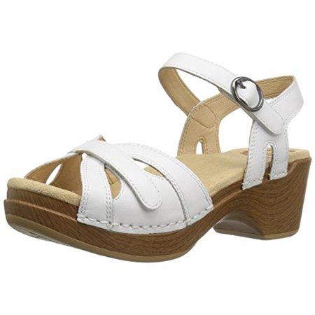 Dansko Women's Season Flat Sandal, White, 40 EU/9.5-10 M (Danesco White Porcelain)