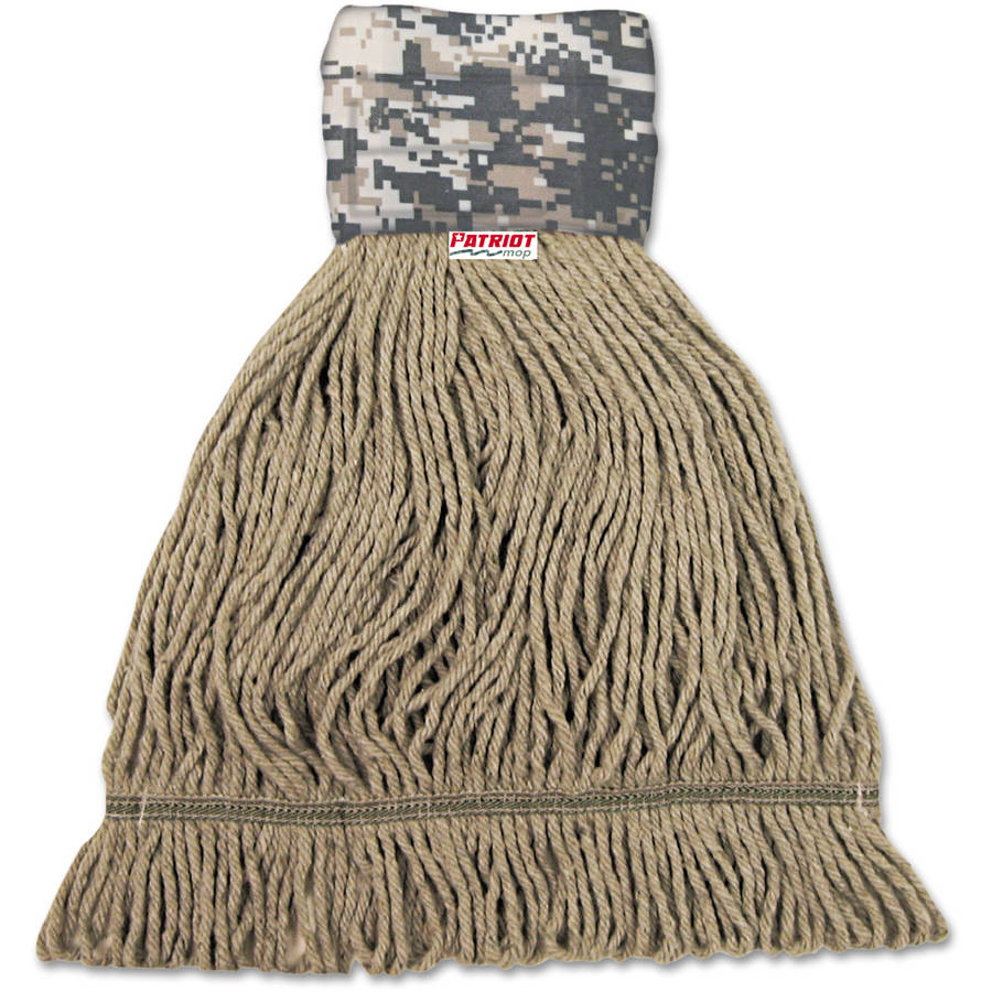Boardwalk Patriot Looped End Wide Band Large Green/Brown Mop Head, 12 count