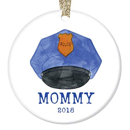 """Police Mommy 2019 Christmas Ornament Porcelain Keepsake Present Female Officer Policewoman Mother Mom Mama from Children Child Son Daughter 3"""" Flat Ceramic Collectible with Gold Ribbon & Free Gift Box"""