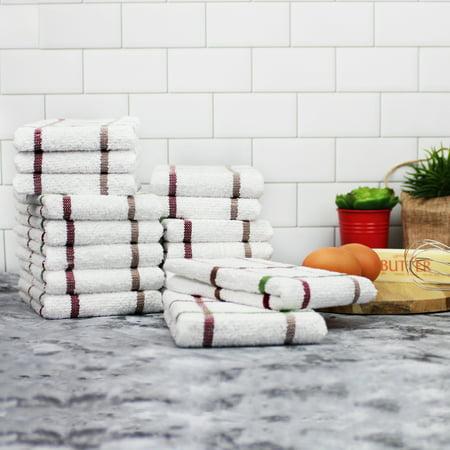 Mainstays 16-Piece Dishcloth Set, White with Multi-color Stripes Stripe Dish Cloth