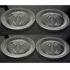 Clear Crystal Palm Tree Tropical Dinner Plates Dinnerware, Set of 4