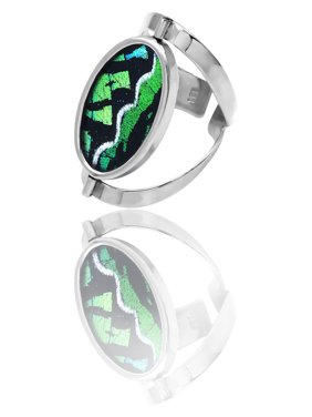 Quan Jewelry Butterfly Wings Ring in Silver Tone, Inspirational Jewelry Rings for Women, Gifts for Mom or Wife (Green) …