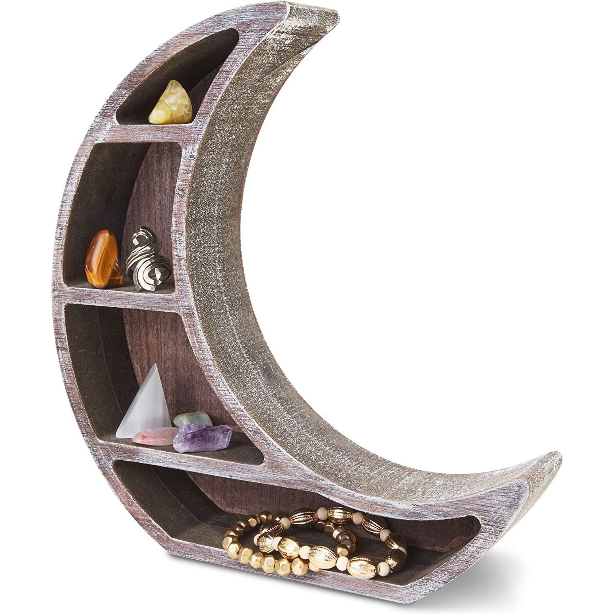 Wall Mounted Crescent Moon Shelf Wooden Floating Storage Display Shelves Home Wall Room Decor Brown 10 X 10 2 X2 Walmart Com Walmart Com