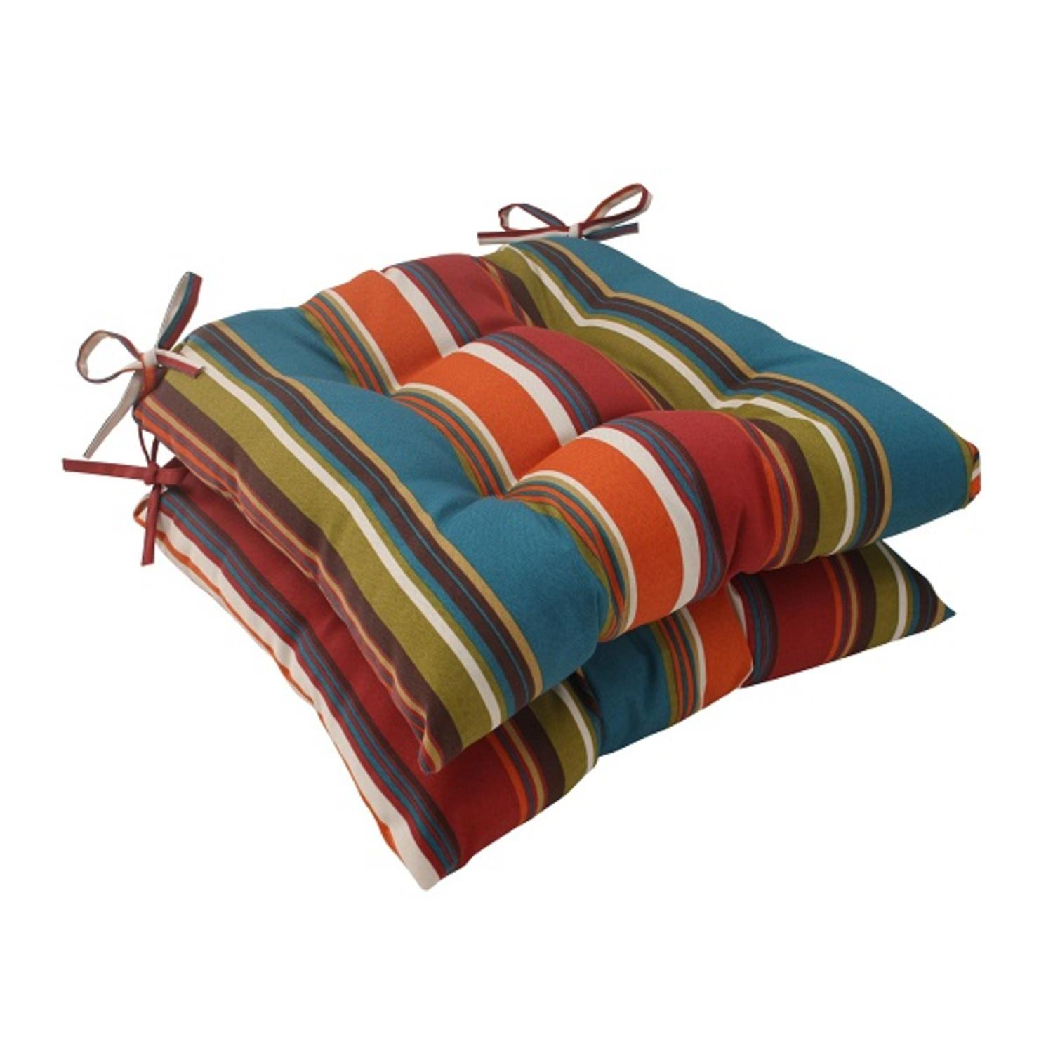 Set of 2 Moroccan Multi-color Striped Outdoor Tufted Seat Cushions 19""