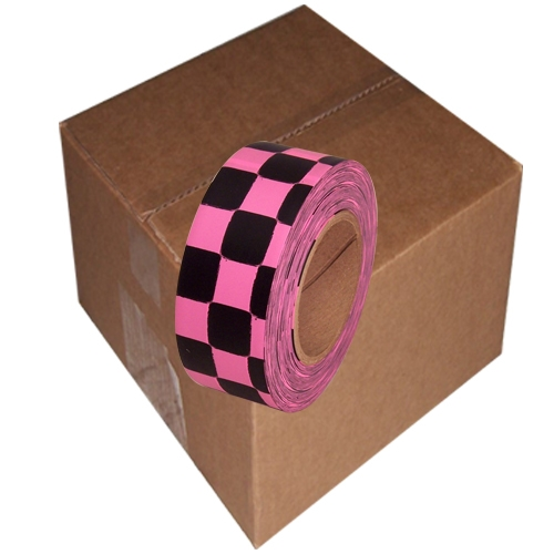 12 Roll Case of Fluorescent Pink and Black Checkerboard Flagging Tape 1 3/16 inch x 100 ft Non-Adhesive