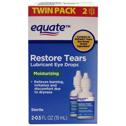 Equate Restore Tears Lubricant Eye Drops, 0.5 fl oz, 2 count