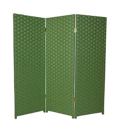 4 ft. Tall 3-Panel Woven Fiber Room Divider Light Green