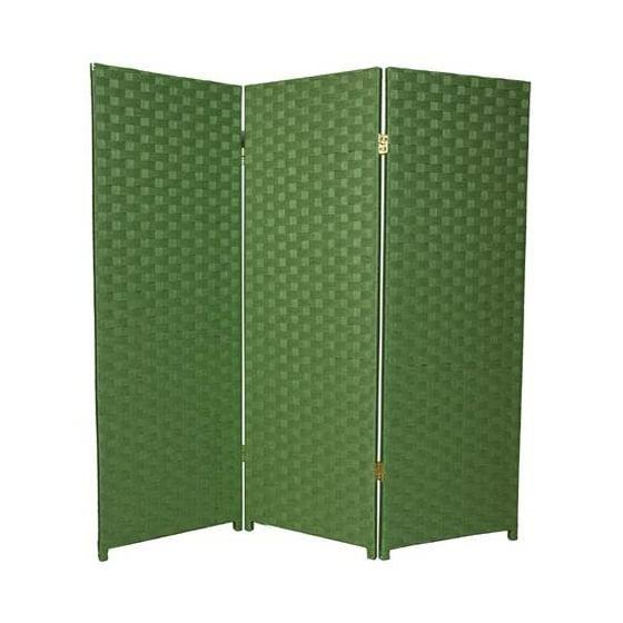 4 Ft Tall 3 Panel Woven Fiber Room Divider Light Green Walmartcom
