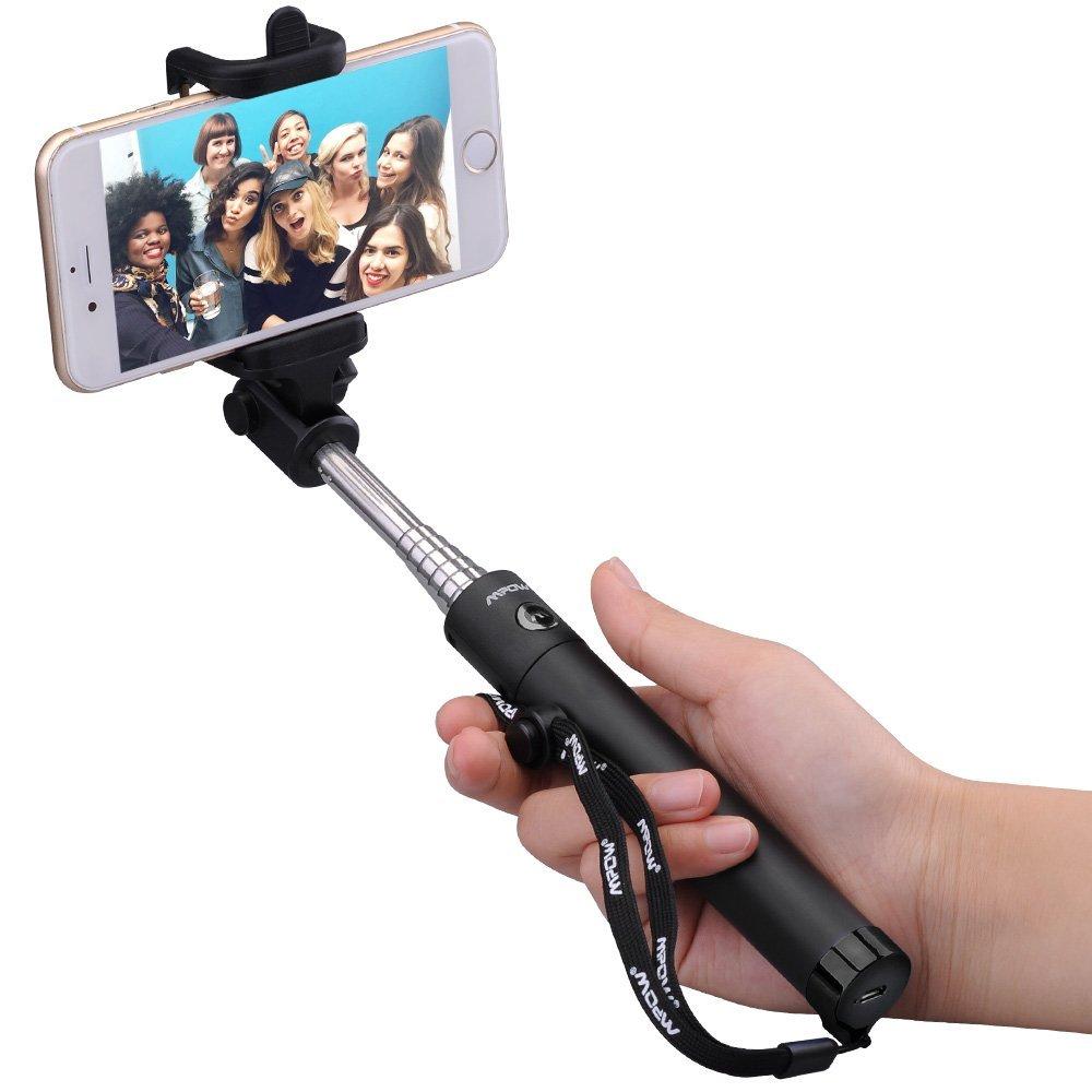 Mpow iSnap X One-piece U-Shape Self-portrait Extendable Selfie Stick with built-in Bluetooth Remote Shutter-Black