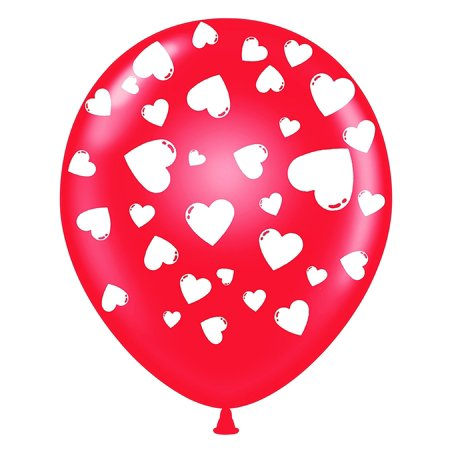 Happy Valentine's Day Hearts Balloons 11in Premium Crystal Red with All-Over print white Hearts Pkg/25