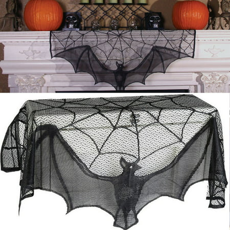 Diy Halloween Mantel Decor (Tuscom Black Lace Bats Fireplace Mantel Scarf Unique Fan-Shaped Edge Spiderweb Cover for Spooky Halloween Fireplace Decoration Prop Party)