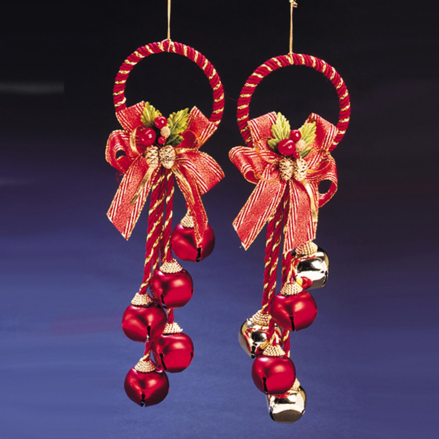 Club Pack of 12 Gold and Red Jingle Bell Cluster Christmas Decorations