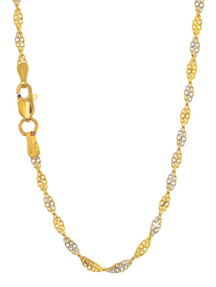 """14k Solid 2 Tone Gold 2 mm Singapore Chain Necklace 16"""" 18"""" 20"""" Lobster Claw Clasp"""