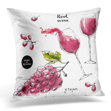ARHOME Black Ink Sketch of Wine Glasses with Red Watercolor Stains and Grape Berries for Food and Drink Label Pillow Case Pillow Cover 18x18 inch ()