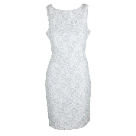Donna Ricco Ice Blue Sleeveless Floral Textured Glitter Sheath Dress 10