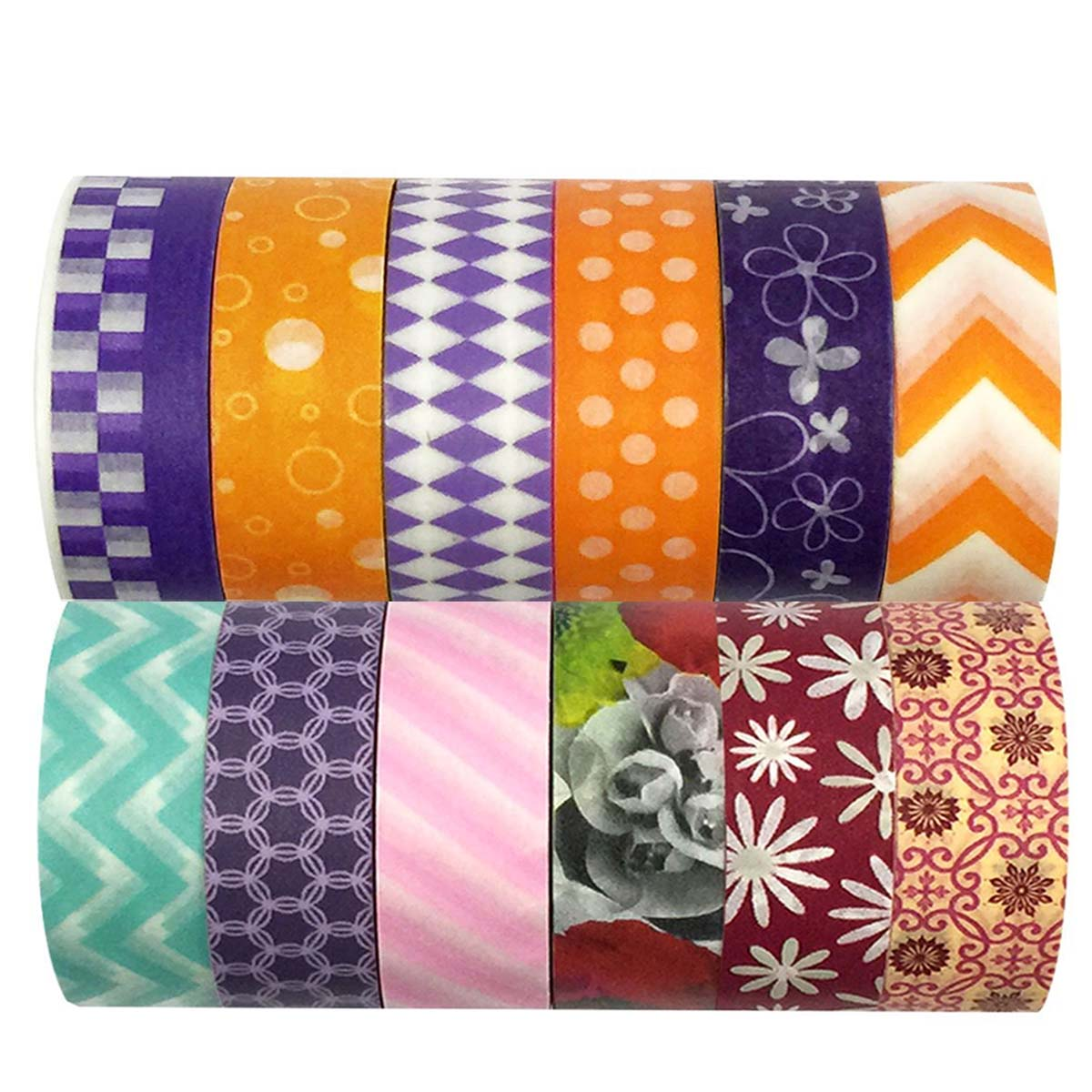 Wrapables® Washi Tapes Decorative Masking Tapes, Set of 12, ADSET32