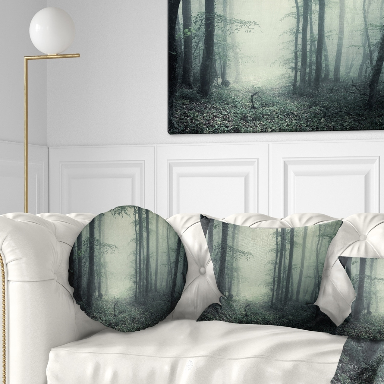 Design Art Designart Trail Through Dark Forest Landscape Photo Throw Pillow Walmart Com Walmart Com