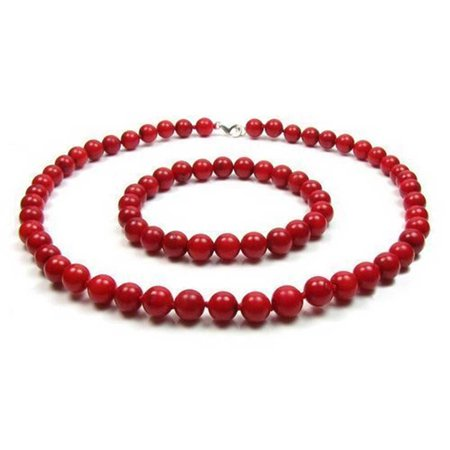 Orange Red Dyed Simulated Coral Color 9MM Ball Beads Strand Necklace Stretch Bracelet Set For Women 925 Silver Clasp