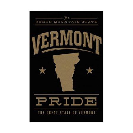 Vermont State Pride - Gold on Black Print Wall Art By Lantern Press Black Gold Art Print