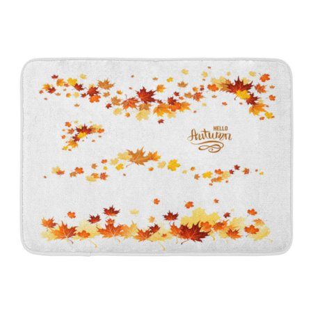 GODPOK October Orange Leaf Autumn Leaves Borders Nature Design Fall Maple for Red Foliage Abstract Rug Doormat Bath Mat 23.6x15.7 inch (Leaf Design Door)