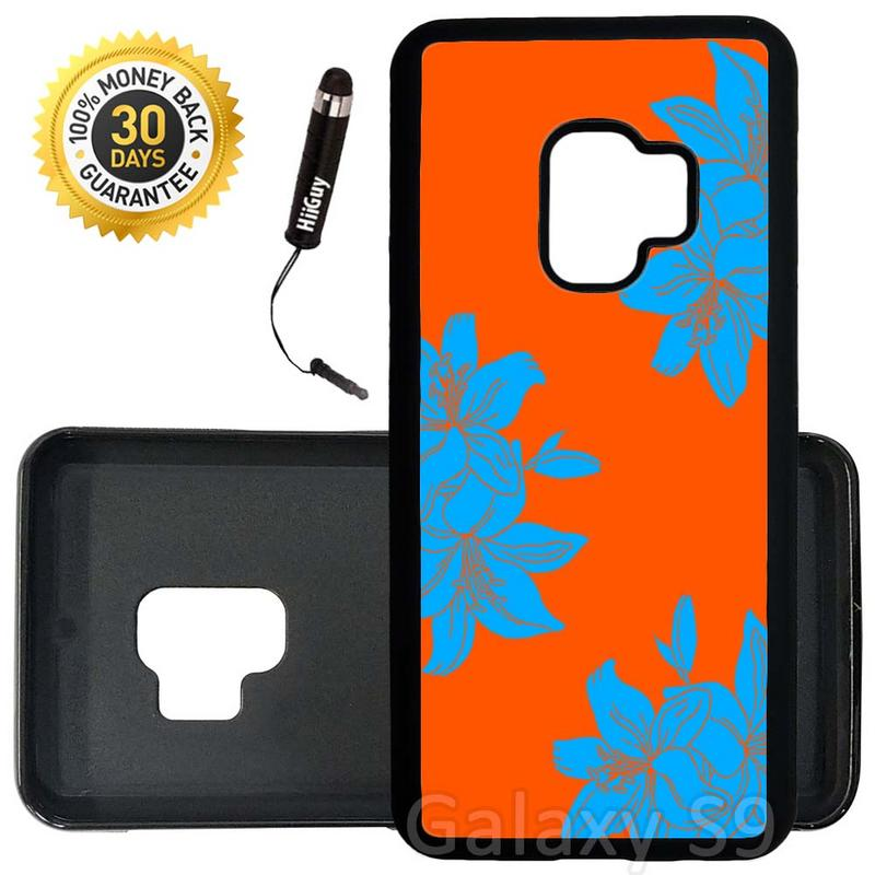 Custom Galaxy S9 Case (Blue Flowers on Orange) Edge-to-Edge Rubber Black Cover Ultra Slim | Lightweight | Includes Stylus Pen by Innosub