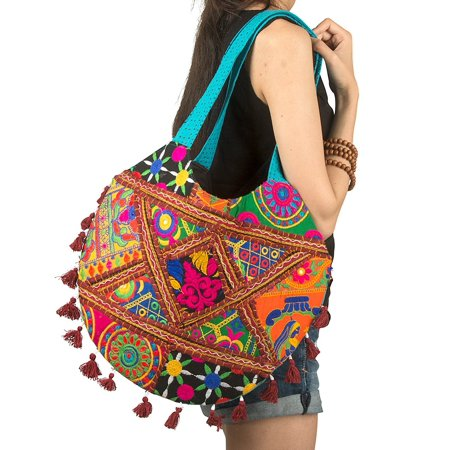 Windjammer Everyday Tote - Tribe Azure Colorful Handmade Women Tote Shoulder Bag Purse Tassel Casual Boho Beach Fashion Everyday (Turquoise)