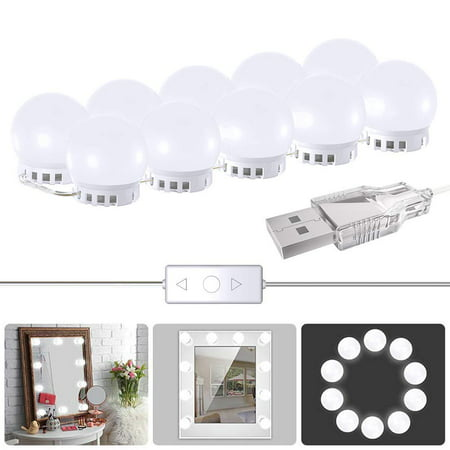Vanity Mirror Lights, 2019 Upgraded 2 Color Lighting Modes with 10 Dimmable Light Bulbs,Hollywood Style Lighting Fixture Strip for Makeup Vanity Table Set in Dressing Room (Mirror Not Include)