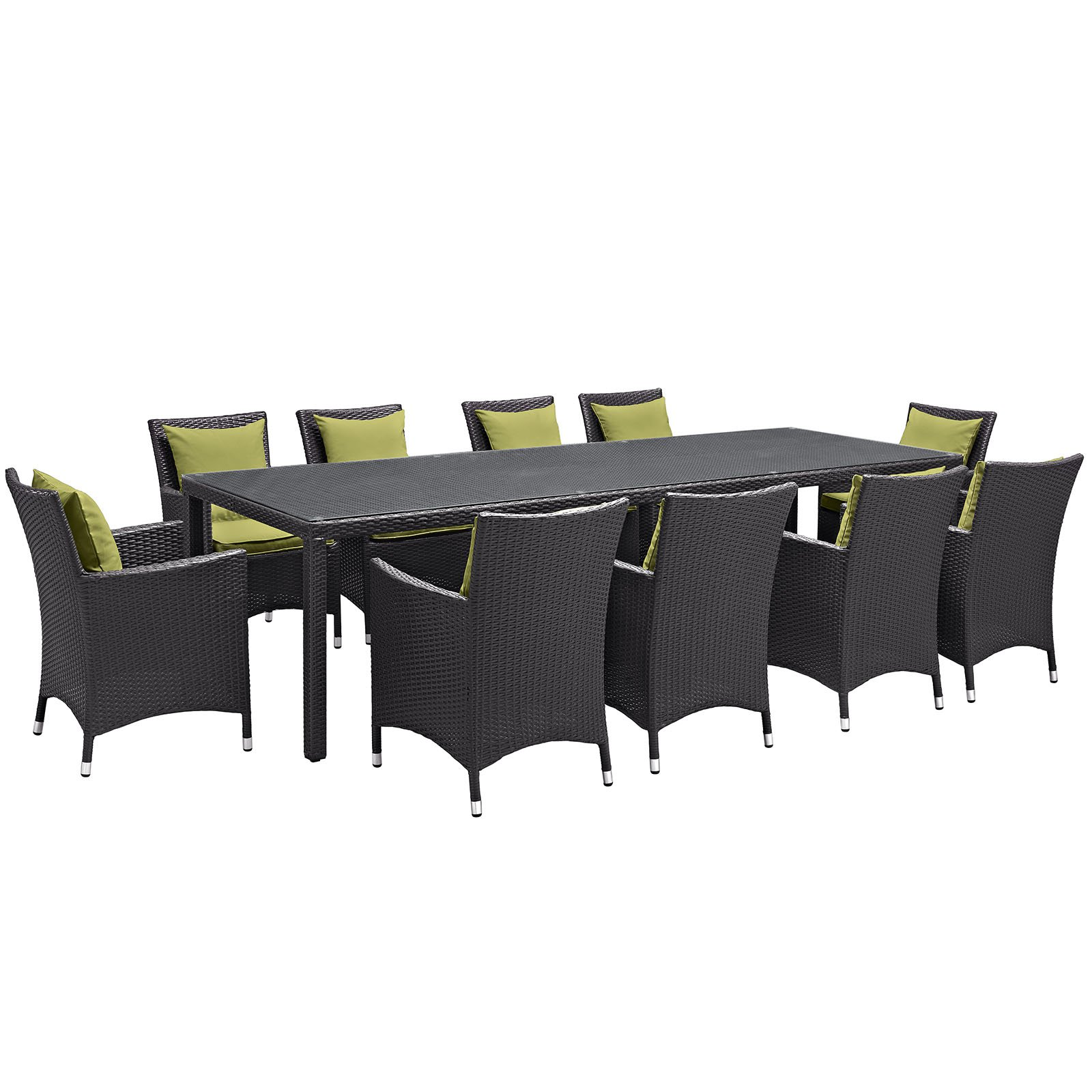 Modway Convene 11 Piece Outdoor Patio Dining Room Set, Multiple Colors by Modway