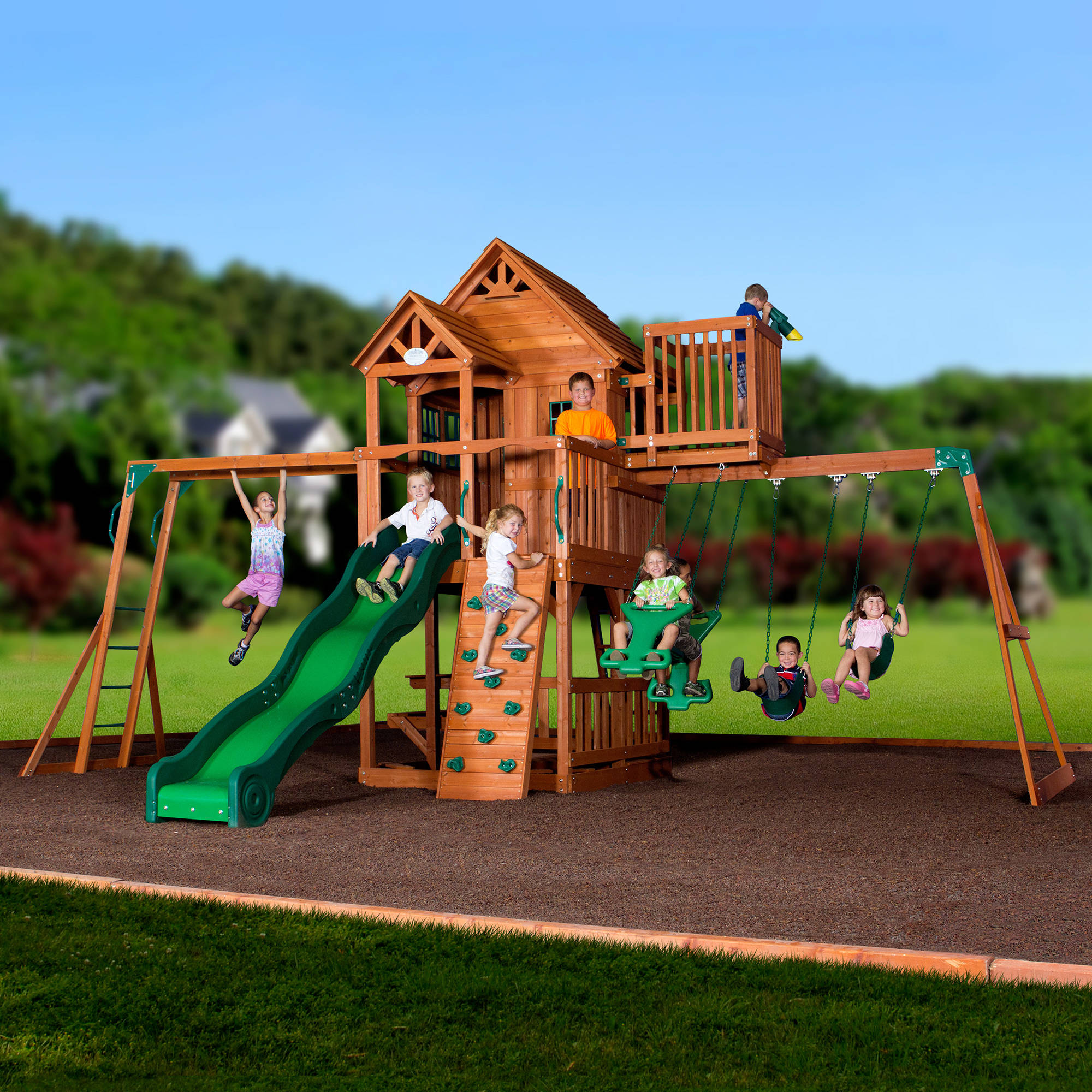 set children wooden playing two young play free picture their people with swing sets kids