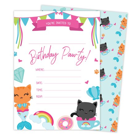 Cat Kitten Kitty Style 2 Happy Birthday Invitations Invite Cards (25 Count) with Envelopes & Seal Stickers Boys Girls Kids Party - Girl Birthday Party Invitations