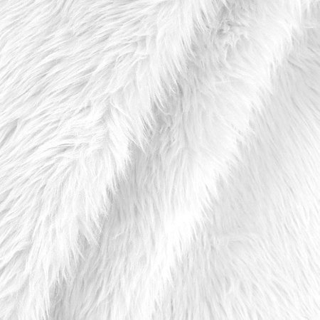 White Shaggy Faux Fake Fur Fabric by the yard