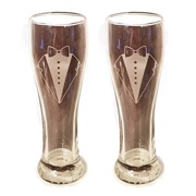 Laser Engraved LGBTQ Groom and Groom Glasses 15 oz Beer Pilsner Glasses Wedding Toasting Set of 2 Couples Gifts...