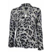 Sutton Studio Women's 100% Cashmere Leopard Sweater Knit Blazer Jacket