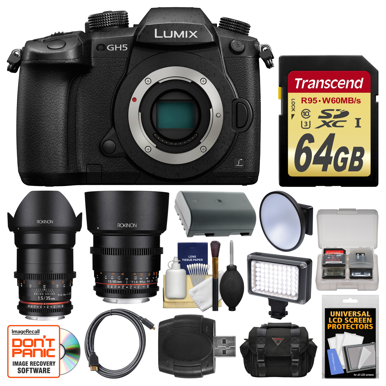 Panasonic Lumix DC-GH5 Wi-Fi 4K Digital Camera Body with 35mm & 85mm T 1.5 Lenses + 64GB Card + Case + Video... by Panasonic